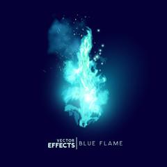 Mystical Blue Fire Flames Vector