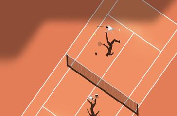 Lamas personalizadas con tu foto Top View Of Clay Court Tennis Match