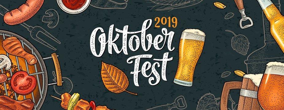 Horizontal Poster to oktoberfest 2019 festival. Vintage color vector engraving