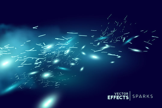 Magical fantasy blue fire sparks blowing through the wind. Vector illustration.