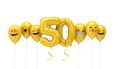Number 50 yellow birthday emoji faces balloons. 3D Render