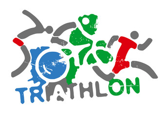 Triathlon racers and sign triathlon.  Three grunge expressive stylized triathlon athletes with inscription triathlon on white background . Vector available.
