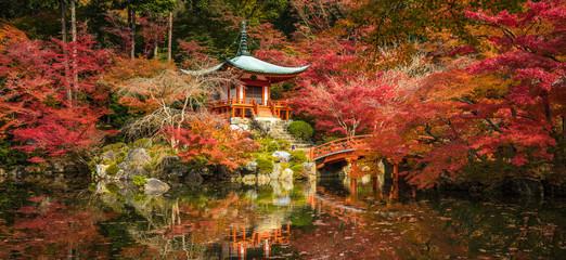 Daigoji temple and autumn maple trees in momiji season, Kyoto, Japan