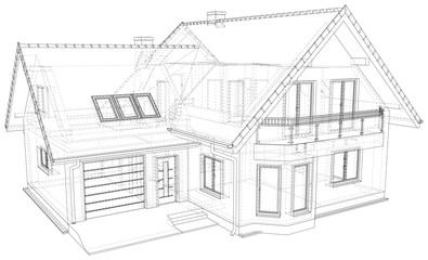 Obraz Sketch line at home. Vector illustration. Illustration created of 3d. - fototapety do salonu