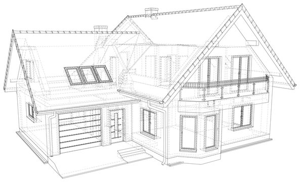 Sketch line at home. Vector illustration. Illustration created of 3d.