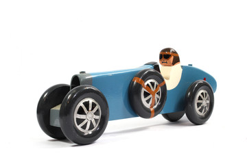 Keuken foto achterwand Cars Wooden Racing Car Toys Vintage on White Background