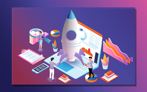 Business analysts analysis the data of company growth or successful project launching a rocket for Data management or startup concept based isometric design.
