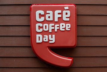 The logo of Cafe Coffee Day is pictured at one of its outlets in Kolkata