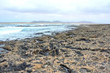 Rocky Volcanic Beach on the Northwest of Fuerteventura, Canary Islands