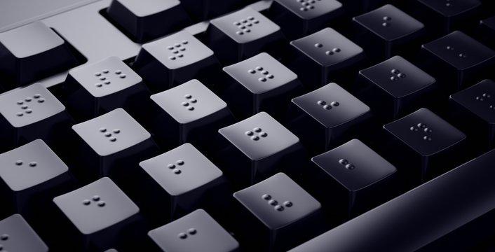 Black Braille Keyboard. Accessible keys for blind people.