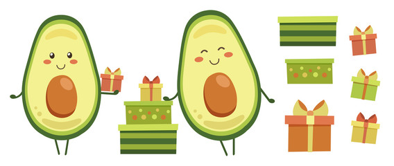 Clip art. Set of smiling avocado characters with colourful gifts for kids. Positive vector elements isolated on white. Icons with presents for holiday design. Logo, label, patch, sticker, card