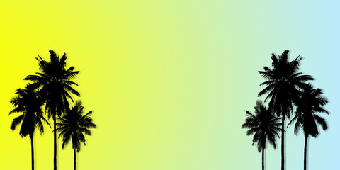 Abstract summer tropical backgrounds set with coconut. Colorful palm trees illustration pattern yellow and blue background.