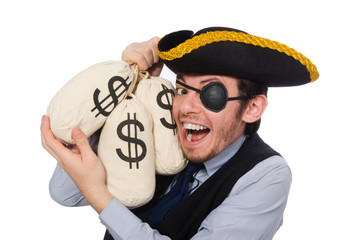 Businessman pirate isolated on white background