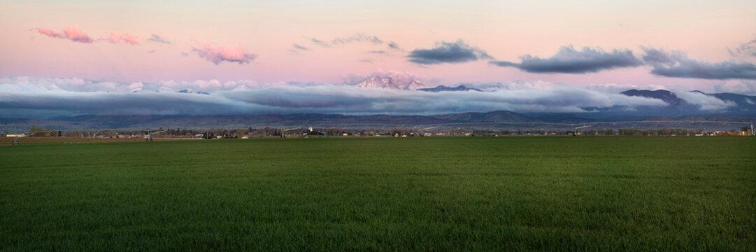 Colorado Farmland with Longs Peak Panorama