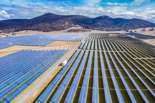 Aerial view of a large solar farm for renewable energy supply in Canberra, Australia