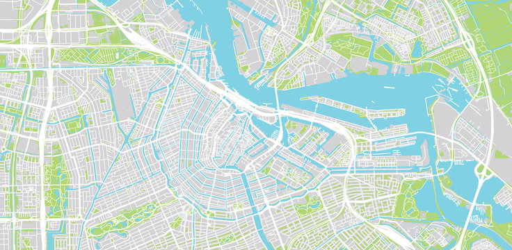 Urban vector city map of Amsterdam, The Netherlands