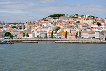 View from the River Tagus of the Lisbon, Portugal cityscape