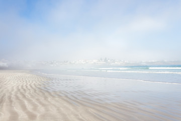 View of beach in the mist