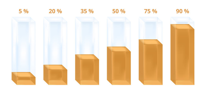Gold vector business or statistical infographic illustration of histogram or graph. Glass columns with gold liquid characterizing percentage increase. Icon is isolated on a white background.