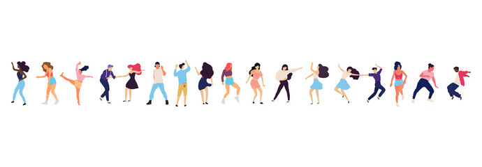 Crowd of young people dancing at club. Big set of characters having fun at party. Flat colorful vector illustration. Wall mural