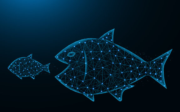 Big fish eat small low poly design, predator and prey abstract geometric image, underwater world wireframe mesh polygonal vector illustration made from points and lines on dark blue background