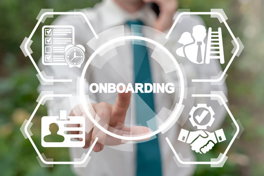 Businessman working on virtual touchscreen pressing onboarding word and calling by phone. Onboarding Process Business concept.