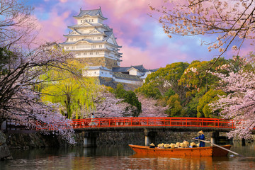 Foto auf Leinwand Rosa hell Himeji castle at sunset