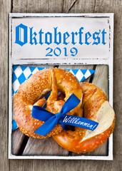 Bavarian Pretzel and German Welcome sign