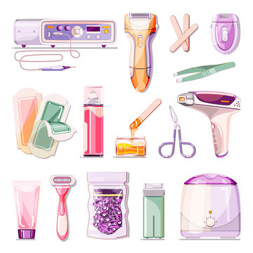 Hair removal methods vector cartoon illustration. Beauty salon epilation and depilation icons set.