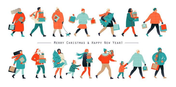 Merry Christmas and New Year. Holiday family set. Parents and children decorate the Christmas tree. Vector illustration in a flat style.