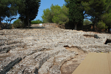 The ruins of a Roman theatre in the ancient City of Pollentia at Alcudia on the Spanish island of Majorca.