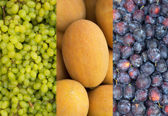 Collage three photos: green grapes, ripe yellow melon, blue plum. Fresh fruit, harvest counter at the farmers market.