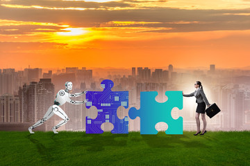 Robot and human cooperating in jigsaw puzzle
