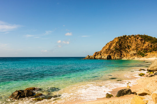 Travel photo of St. Barth's Island, Caribbean. The famous Shell Beach, in St. Barth's (St. Bart's) Caribbean.