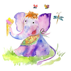 children drawing watercolor elephant