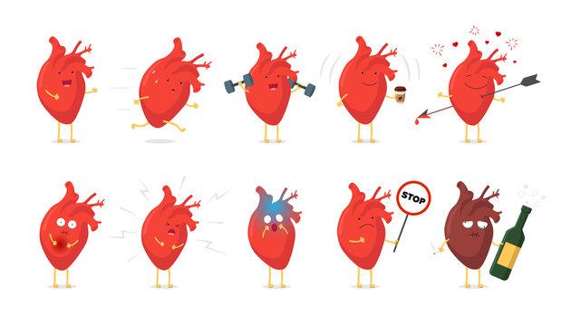Sad sick unhealthy cry and healthy strong happy smiling cute heart character set. Medical human circulatory organ funny cartoon collection. Vector illustration