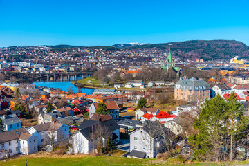 Aerial view of the historical center of Trondheim, Norway