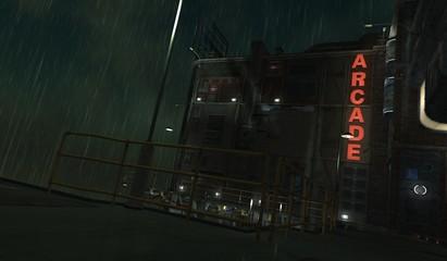 Fotomurales - 3D illustration of a futuristic cityscape in cyberpunk style. Gloomy urban landscape. Rainy night scene.