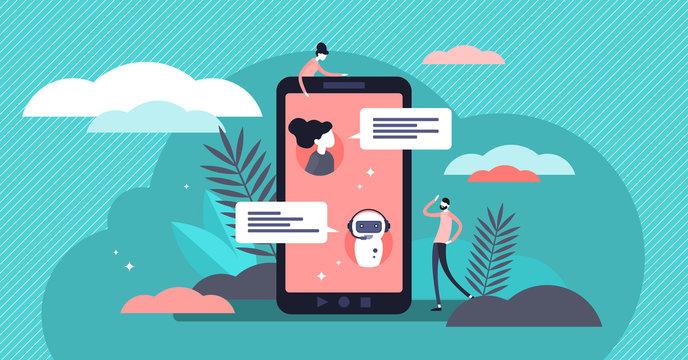 Chatbot vector illustration. Flat tiny virtual conversation persons concept