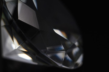 Huge diamond and several chic crystals on a gradient mirror surface, shimmer and sparkle