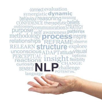 Neuro Linguistic Programming Practitioner offering NLP word tag cloud - female open hand with an NLP word cloud floating above on a white background