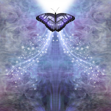 Blue Butterfly Passing into the Light - metaphor for death, a blue butterfly approaching bright white light on a lacy ethereal sparkling blue background with space for copy