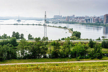 View of the Top Embankment of the Angara River in Irkutsk with reflection