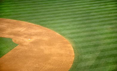 High angle view of second base of baseball field