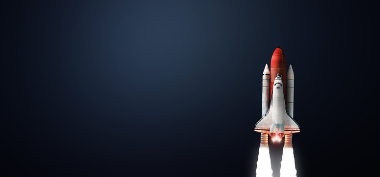 Space shuttle on dark background. Gradient. Space art wallpaper. Elements of this image furnished by NASA