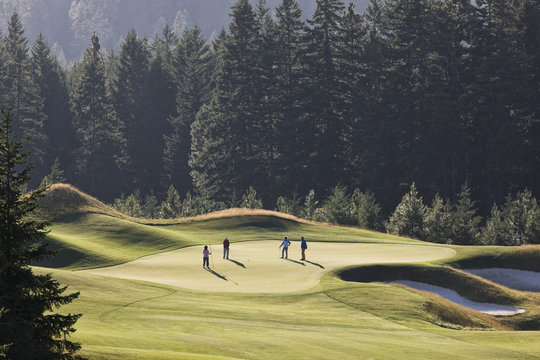 Senior couples playing golf on golf course