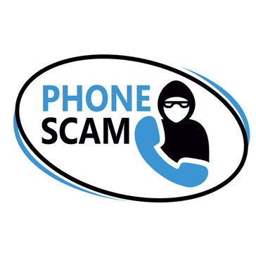 Phone scam sign on white background