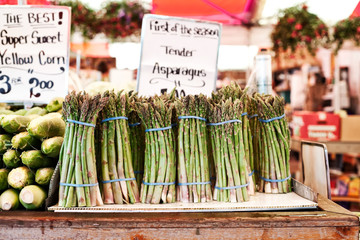 Bunches of asparagus in vegetable market