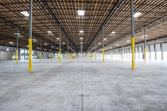 Interior view of empty warehouse