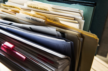 Close up of files and file folders on desk